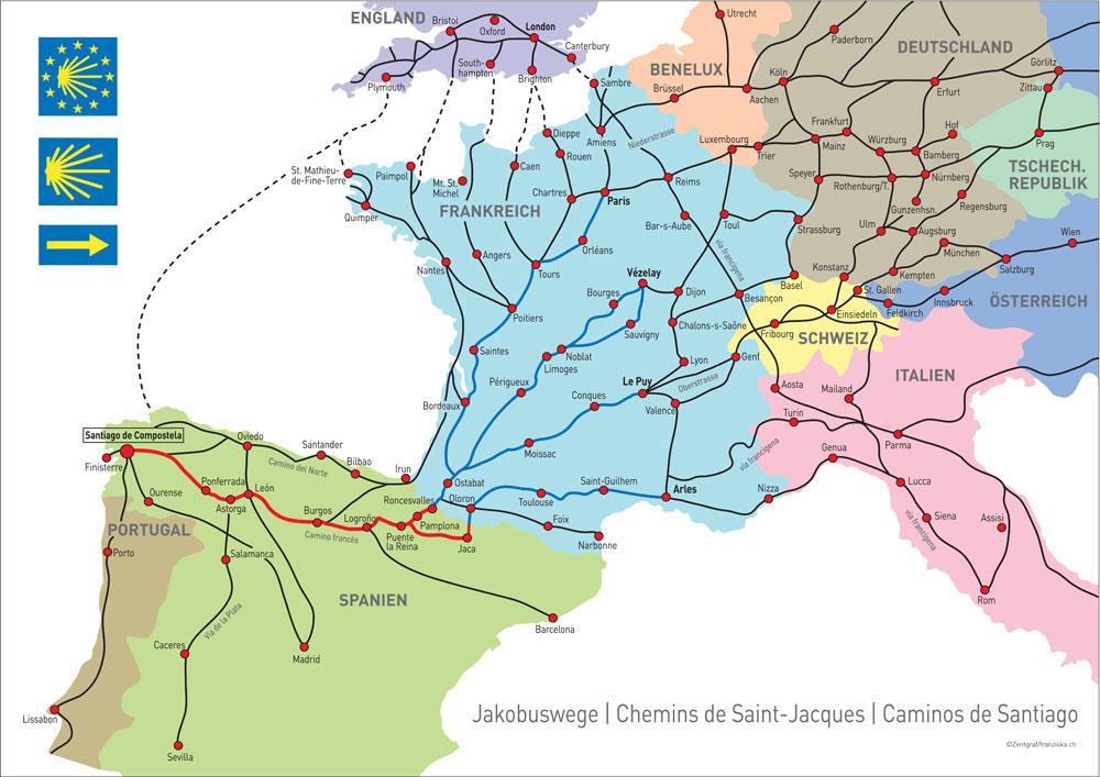 Karte Jakobsweg in Europa