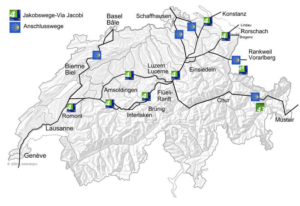 Jakobsweg Frankreich Spanien Karte.Karte Jakobswege Schweiz Jakobsweg Tipps Jakobswege News