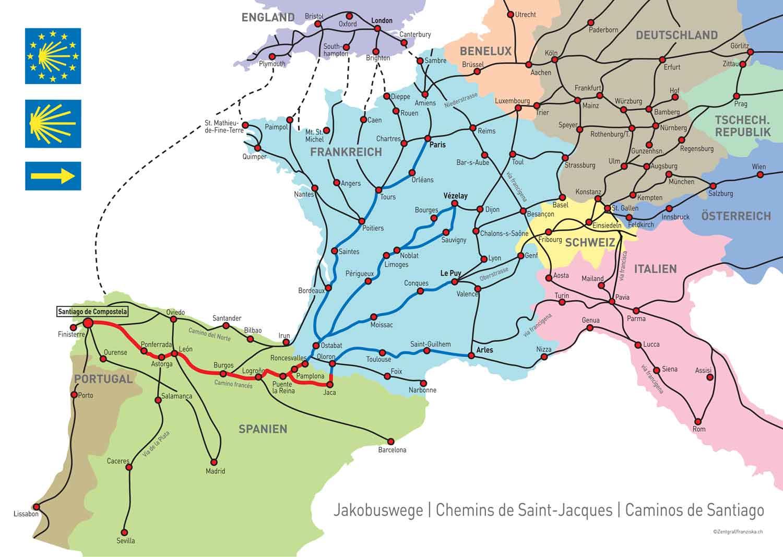 pilgerwege deutschland karte Karte Jakobsweg Europa   Jakobsweg, Tipps Jakobswege, News