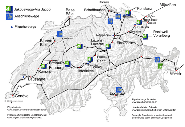 Karte Jakobsweg Schweiz