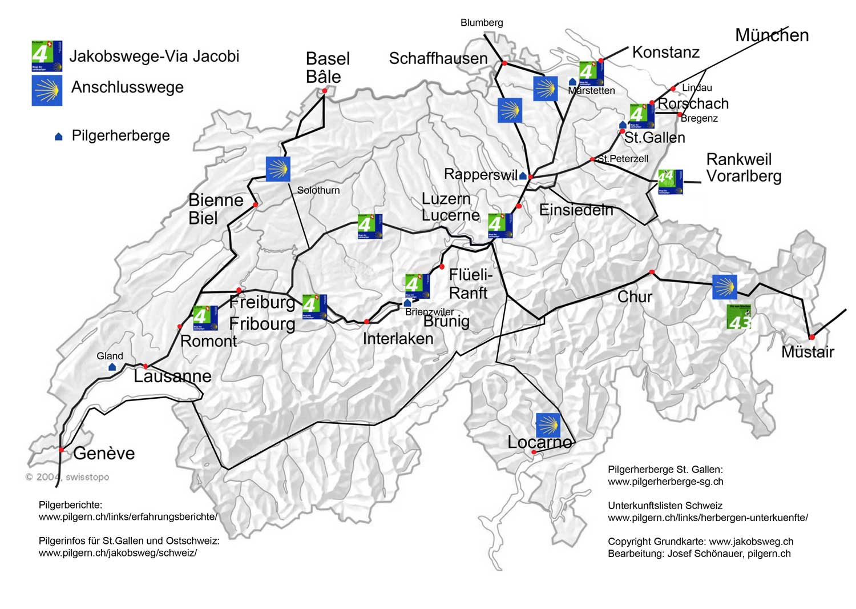 Jakobsweg Frankreich Spanien Karte.Karte Jakobsweg Schweiz 2019 Jakobsweg Tipps Jakobswege