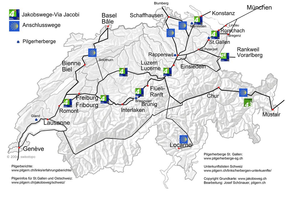 Karte Jakobswege Schweiz
