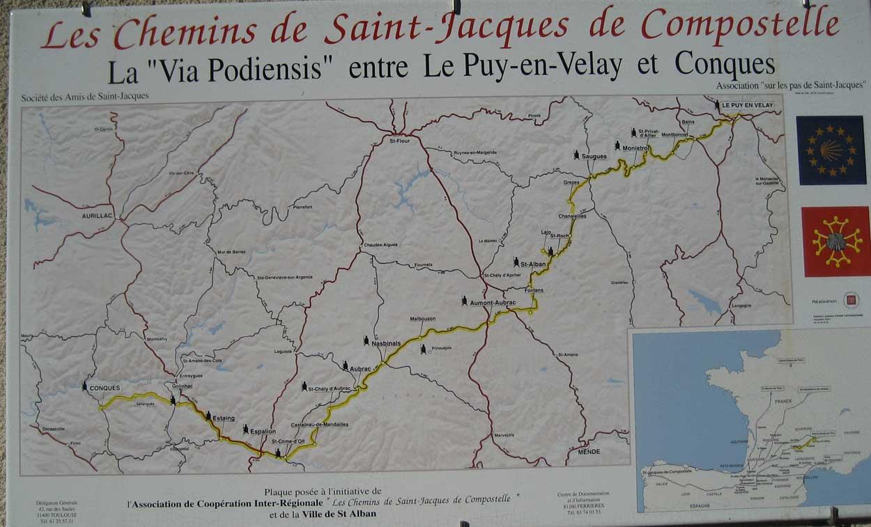 Karte Via Podiensis